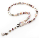 White and Pink and Violet Freshwater Pearl Crystal Y Shape Necklace