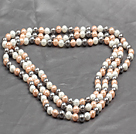 Long Style 8mm White Pink and Gray Color Round Sea Shell Beaded Necklace