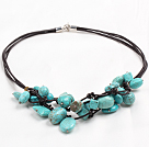 Chic Style Irregular Shape Turquoise Leather Necklace