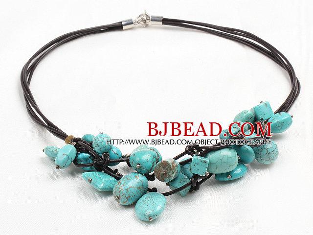 Chic Style Irregular Shape Turquoise Leather Necklace