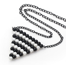 Fashion Style Triangle Shape Wire Wrapped Black Agate and White Porcelain Stone Necklace with Metal Chain