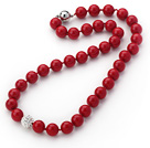 2013 Summer New Design Red Color Round 10mm Seashell Beaded Knotted Necklace with White Rhinestone Ball