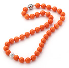 2013 Summer New Design Orange Yellow Color Round 10mm Seashell Beaded Knotted Necklace with White Rhinestone Ball