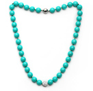 2013 Summer New Design Green Color Round 10mm Seashell Beaded Knotted Necklace with White Rhinestone Ball