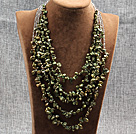 Elegant Five Layer Natural Army Green Rebirth Pearl Crystal Party Necklace