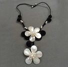 2013 Summer New Design Silver Gray Color Round 10mm Seashell Beaded Knotted Necklace with White Rhinestone Ball