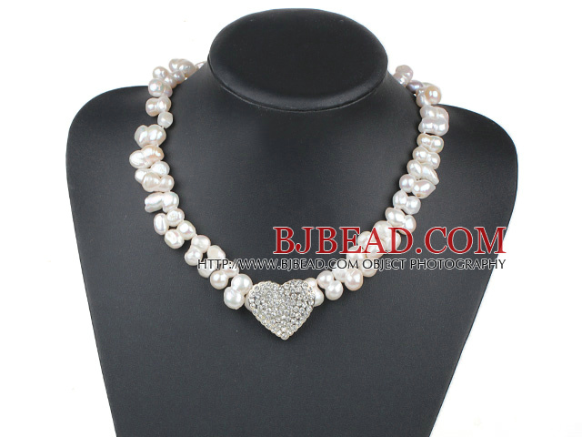 New Design White Irregular Shape Top Drilled Freshwater Pearl Necklace with Heart Shape Rhinestone Accessory