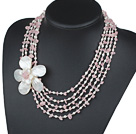 Five Strands Pink Series Rose Quartz Chips and Freshwater Pearl and White Shell Flower Necklace under $ 40
