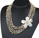 Five Strands Yellow Series Citrine Chips and Freshwater Pearl and White Shell Flower Necklace
