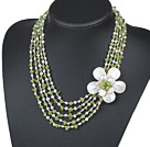 Five Strands Green Series Peridot Chips and Freshwater Pearl and White Shell Flower Necklace