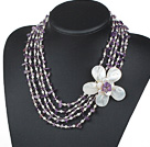 Five Strands Purple Series Amethyst Chips and Freshwater Pearl and White Shell Flower Necklace under $ 40