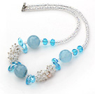 Assorted White and Sky Blue Series Clear Crystal and Blue Jade Necklace with Lobster Clasp under $ 40