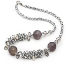 Assorted Gray Series Gray Crystal and Gray Agate Necklace with Lobster Clasp