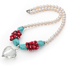 Natural White Freshwater Pearl and Turquoise and Alaqueca Necklace with Heart Shape Colored Glaze Pendant