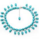 Blue Turquiose Choker Necklace with White Freshwater Pearl and Blue Turquoise Beads