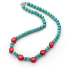 Single Strand Round 8mm Turquoise Beads and Red Coral Necklace under $ 40