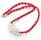 Single Strand Long Oval Shape Red Coral Necklace with White Freshwater Pearl