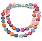 Two Strands Assorted Flat Round Multi Color Burst Pattern Agate Necklace