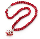 New Design 5mm Red Coral Ketting met Red Crystal en White Pearl Bloem Hanger
