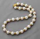 Single Strand 10-11mm Round White Freshwater Pearl and Golden Color Metal Beaded Necklace