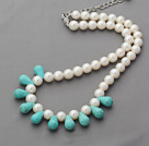 A Grade Round White Freshwater Pearl and Drop Shape Turquoise Necklace