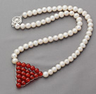 6-7mm Natural White Round Freshwater Pearl Necklace with Wire Wrapped Triangle Shape Carnelian Pendant