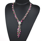 Assorted Pink Series Pink and Multi Color Round Jade Y Shape Necklace with White Freshwater Pearl