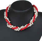 Three Strands White Freshwater Pearl and Red Dyed Turquoise Twisted Necklace under $ 40