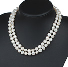 Double Rows 10-11mm Natural White Potato Freshwater Pearl Beaded Knotted Necklace