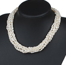Eight Strands Irregular Shape Baroque Pearl Twisted Necklace