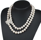 Double Rows 12-14mm Natural Round Freshwater Pearl Beaded Necklace with Butterfly Shape Rhinestone Accessory