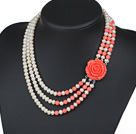 Three Strands Natural White 6-7mm Freshwater Pearl and Pink Coral Necklace with Red Acrylic Flower Clasp