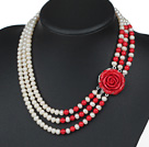 Three Strands Natural White 6-7mm Freshwater Pearl and Red Coral Necklace with Red Acrylic Flower Clasp