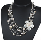 Multi Strands Clear Crystal and White Freshwater Pearl and White Shell Flower Necklace
