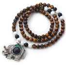 New Design Round Tiger Eye and Black Agate and White Sea Shell Beaded Necklace with Beautiful Elephant Pendant