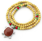 New Design Round Dyed Yellow Turquoise Beaded Necklace with Beautiful Turtle Pendant