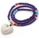 New Design Round Dyed Purple Turquoise Beaded Necklace with Heart Shape Howlite Pendant