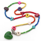Long Style Assorted Dyed Multi Color Turquoise Necklace with Heart Shape Pendant