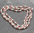 Long Style 8mm White Orange Pink and Gray Color Round Sea Shell Beaded Necklace