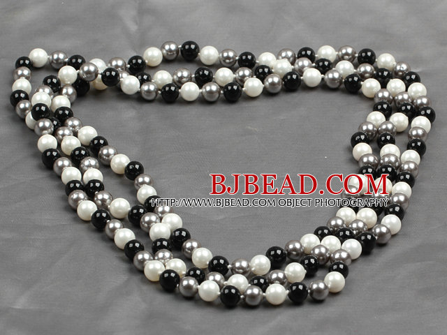 Long Style 8mm White Gray and Black Color Round Sea Shell Beaded Necklace