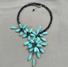 Unique Natural Black Crystal Turquoise Flower Party Necklace