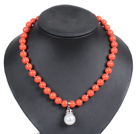 Graceful Orange Seashell Beads Pendant Necklace With Heart Toggle Clasp