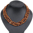 Fashion Style 3 Strand Natural Brown Freshwater Pearl Necklace under $ 14