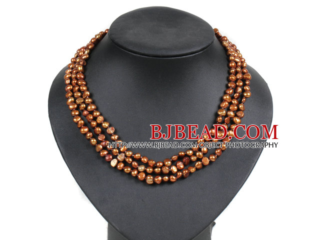 Fashion Style 3 Strand Natural Brown Freshwater Pearl Necklace