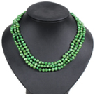 Fashion Style 3 Strand Natural Green Freshwater Pearl Necklace