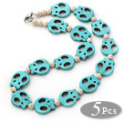 5 Pieces Dyed Blue Turquoise Skull and Howlite Necklaces with Lobster Clasp under $ 40