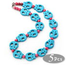 5 Pieces Dyed Lake Blue Turquoise Skull and Pink Turquoise Necklaces with Lobster Clasp under $ 40
