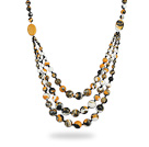 Assorted Three Layer Multi Color Painted Stone Necklace under $ 40