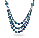 Assorted Three Layer Blue Green Color Painted Stone Necklace under $ 40