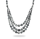 Assorted Three Layer Black and White Color Stripe Stone Necklace under $ 40